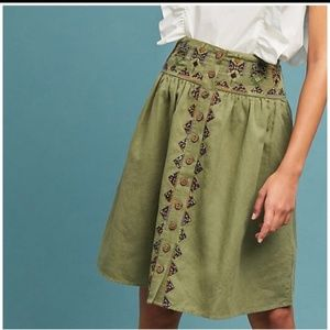 Anthropologie Maeve Embroidered Utility Skirt